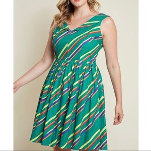 Modcloth Vintage-Inspired Vim Cotton Dress Stripes